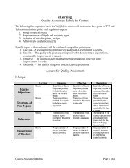 eLearning Quality Assessment Rubric for Content Aspects for ...