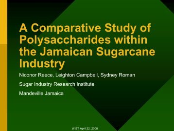 A Comparative Study of Polysaccharides within the Jamaican ...