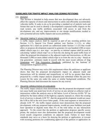 guidelines for traffic impact analysis (zoning petitions)