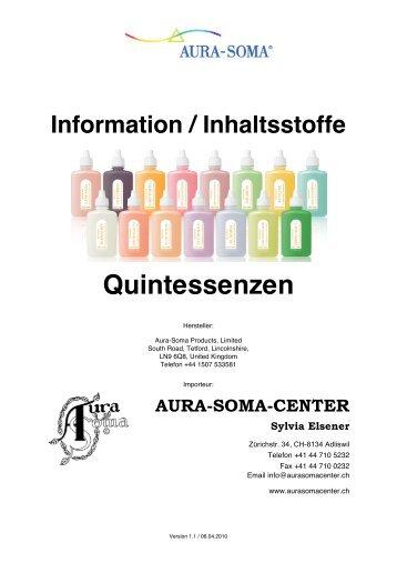 Information / Inhaltsstoffe Quintessenzen - AuraSomaCenter