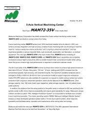 5-Axis Vertical Machining Center MAM72-35Vs release - Matsuura ...
