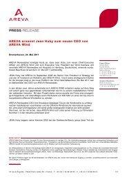 AREVA ernennt Jean Huby zum neuen CEO von AREVA ... - wab.biz