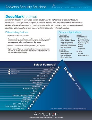 DocuMark® CUSTOM Appleton Security Solutions