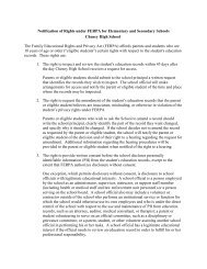 Notification of Rights under FERPA for Elementary and Secondary ...