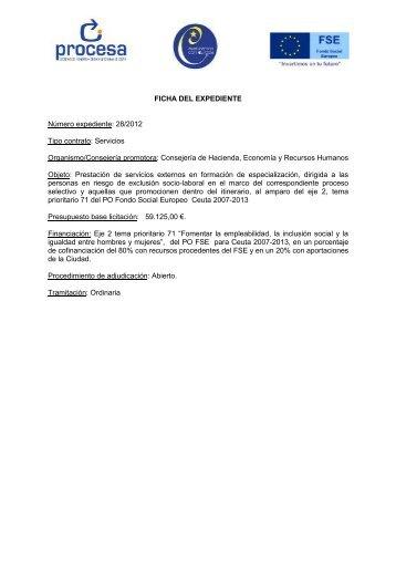 FICHA DEL EXPEDIENTE Número expediente: 28/2012 ... - Procesa