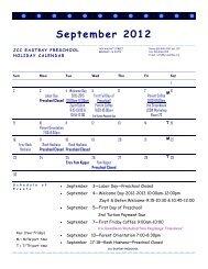 Preschool Calendar 2012-2013 - JCC East Bay