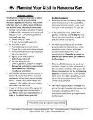 Planning Your Visit to HBay 2012 - Hanauma Bay Education Program