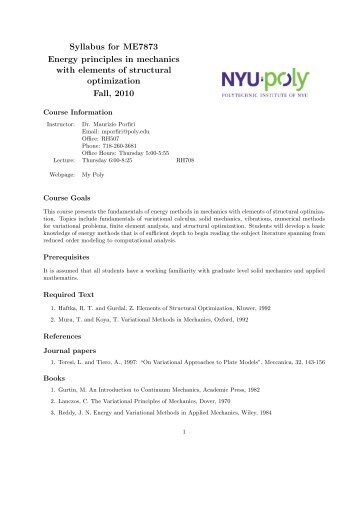 Syllabus for ME7873 Energy principles in mechanics with elements ...