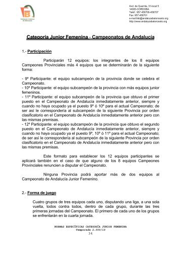 Categoría Junior Femenina - Federación Andaluza de Baloncesto
