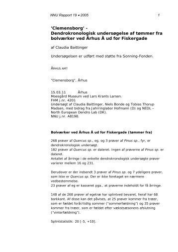 Dendrokronologisk undersøgelse af tømmer fra bolværker ved ...