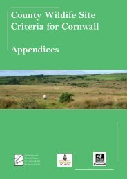 County Wildife Site Criteria for Cornwall Appendices