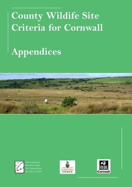 County Wildife Site Criteria for Cornwall Appendices
