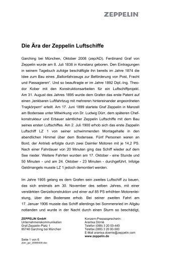 Die Ära der Zeppelin Luftschiffe - ZEPPELIN GmbH