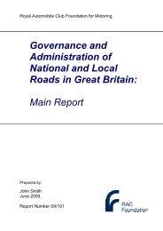 Roads administration - report - RAC Foundation