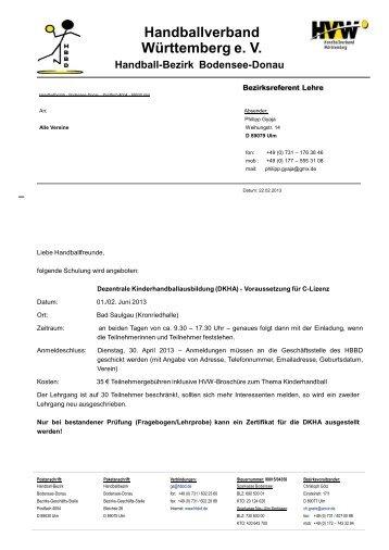 Handballverband Württemberg e. V. - Bezirk Bodensee-Donau - HVW