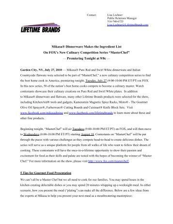 Mikasa® Dinnerware Makes the Ingredient List On ... - Lifetime Brands
