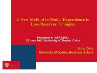 A New Method to Model Dependence in Loss Reserves Triangles