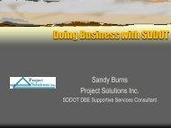 Doing Business with SDDOT, Sandy Burns