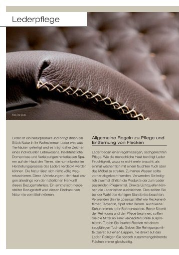 Lederpflege - Download PDF (157 KB) - Wohncenter von Allmen AG