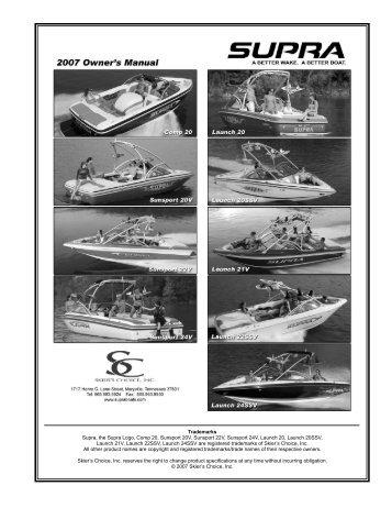Owner's Manual - Supra Boats