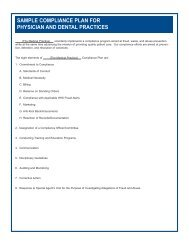 sample compliance plan for physician and dental ... - The Health Plan