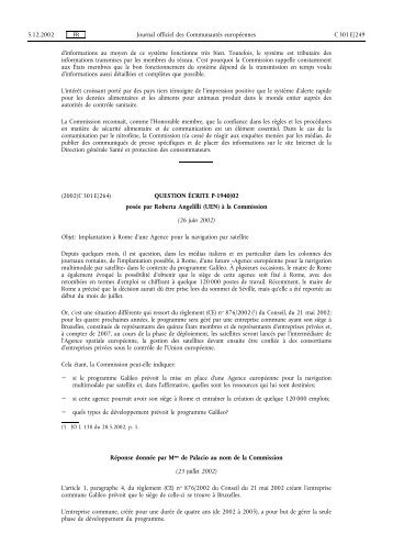 G.U.C.E. C301E/264 du 5/12/2002 - Certil