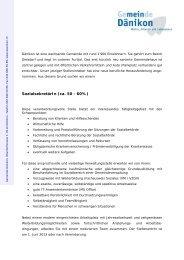 SozialsekretärIn (ca. 50 - 60%) - Gemeinde Dänikon