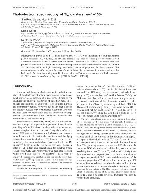 Photoelectron spectroscopy of Tin− clusters - Chemistry Department ...