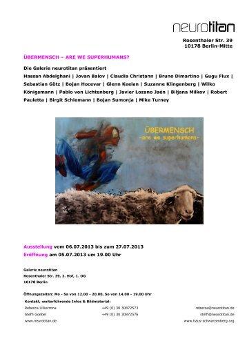 Rosenthaler Str. 39 10178 Berlin-Mitte ÜBERMENSCH – ARE WE ...