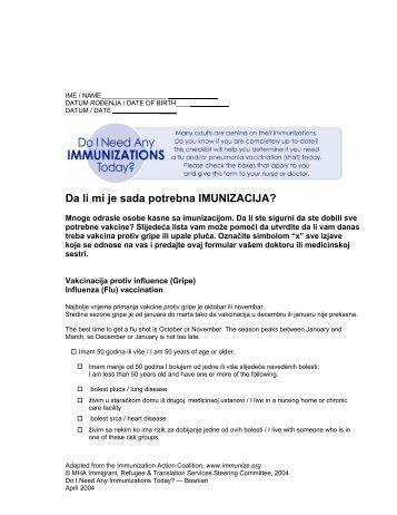 Da li mi je sada potrebna IMUNIZACIJA? - Health Translations