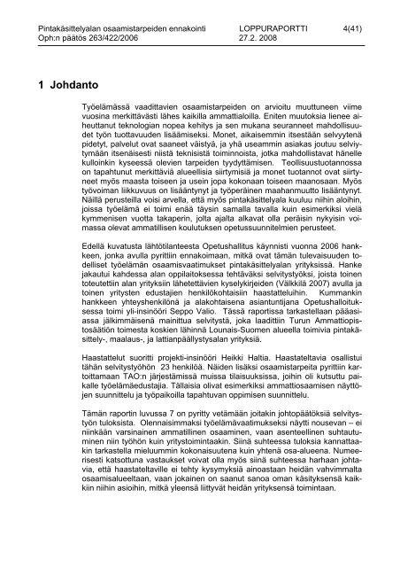 pintakäsittelyalan osaamistarpeiden ennakointi 2007 - Opetushallitus