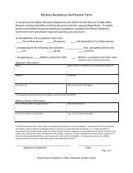 Military Residency Verification Form - North Central Missouri College