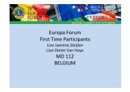 Europa Forum First Time Participants MD 112 BELGIUM - Lions Clubs ...