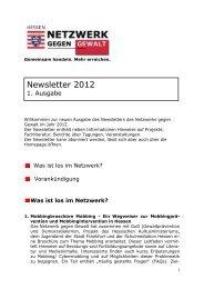 Newsletter 2012 - 1. Ausgabe - Netzwerk gegen Gewalt