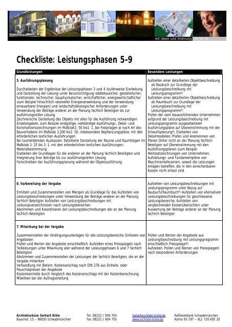 Architektur Bã¼Ro | Checkliste Leistungsphasen 5 9 Architekturba Ro Gerhard Birkle