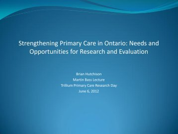 QUALITY IN PRIMARY CARE Final Report of the Quality Working ...