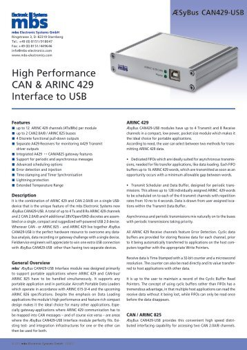 ÆSyBus CAN429-USB - mbs electronic systems