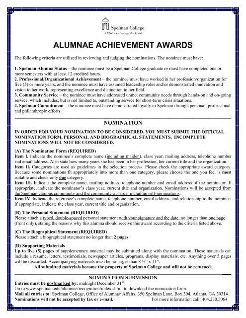 Alumnae Achievement Awards Nomination Form (PDF) - Spelman ...