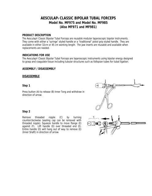 AESCULAP® CLASSIC BIPOLAR TUBAL FORCEPS