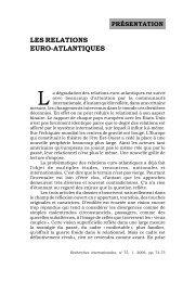 LES RELATIONS EURO-ATLANTIQUES - Recherches internationales