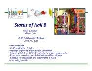 Hall B status report - Nuclear Physics