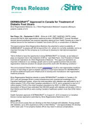 05 Sep 2012 DERMAGRAFT® Approved in Canada for ... - Shire