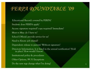 FERPA ROUNDTABLE '09 - AACRAO