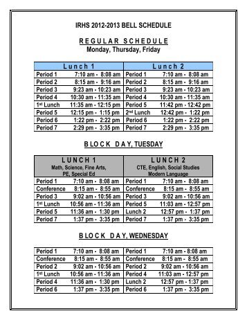 Bell Schedule for Rincon/UHS 2011â 2012