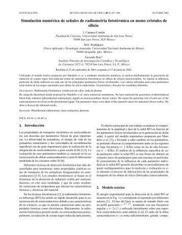 Simulación numérica de señales de radiometría fototérmica en ...