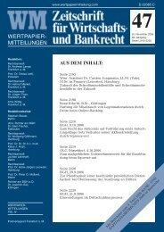 Titel_Recht 47 - WM Wirtschafts- und Bankrecht