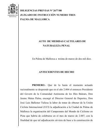 DILIGENCIAS PREVIAS Nº 2677/08 JUZGADO DE INSTRUCCIÓN ...