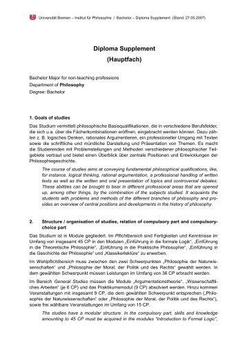 Diploma Supplement (Hauptfach) - Fachbereich 9, Universität Bremen