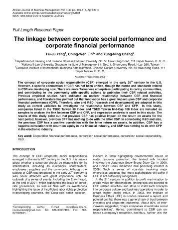 The linkage between corporate social performance and corporate ...