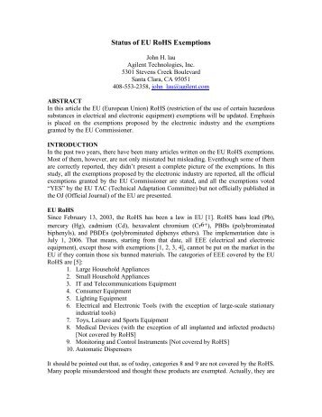 Status of EU RoHS Exemptions - EMSNow